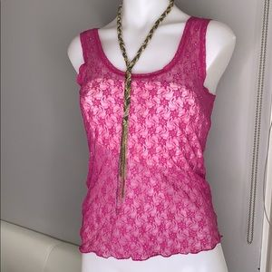 Free People Lace Shimmer Tank Top Magenta